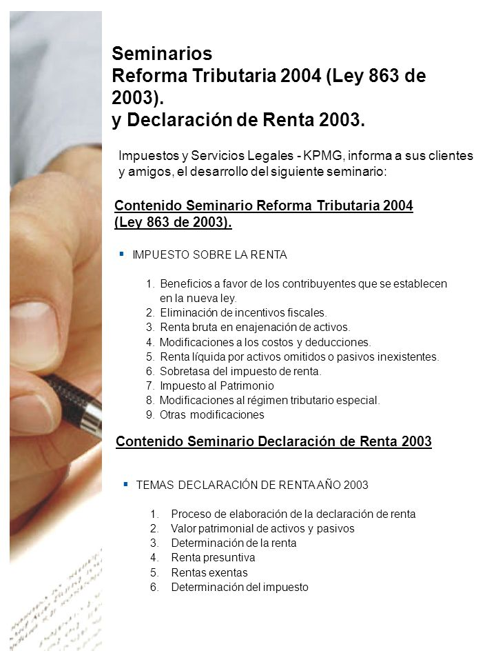 Seminarios Reforma Tributaria 2004 (Ley 863 de 2003).