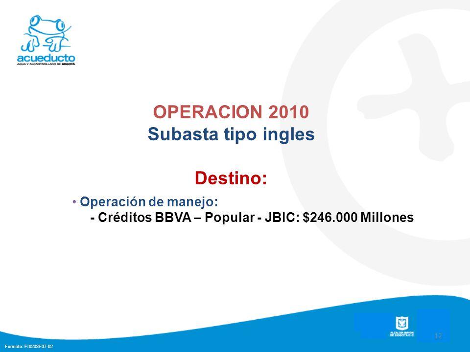 Formato: FI0203F07-02 12 OPERACION 2010 Subasta tipo ingles Destino: Operación de manejo: - Créditos BBVA – Popular - JBIC: $246.000 Millones