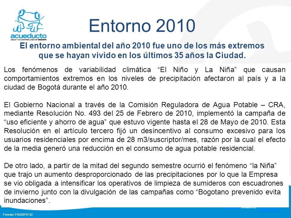 Formato: FI0203F07-02 Entorno 2010 El entorno ambiental del año 2010 fue uno de los más extremos que se hayan vivido en los últimos 35 años la Ciudad.