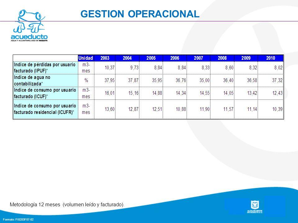 Formato: FI0203F07-02 GESTION OPERACIONAL Metodología 12 meses (volumen leído y facturado).