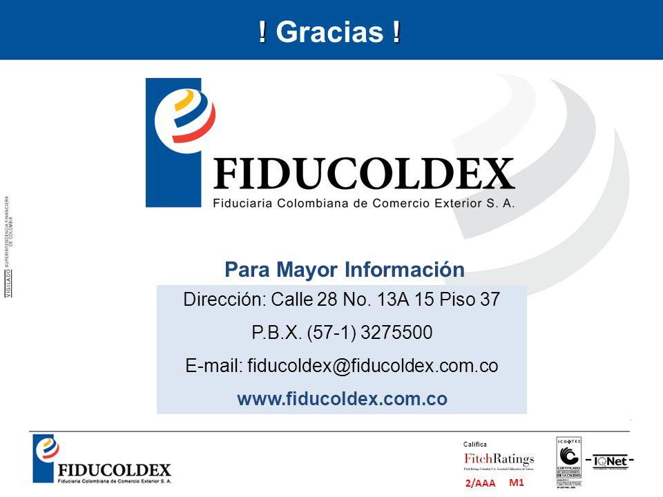 M1 2/AAA Califica Dirección: Calle 28 No. 13A 15 Piso 37 P.B.X. (57-1) 3275500 E-mail: fiducoldex@fiducoldex.com.co www.fiducoldex.com.co Para Mayor I
