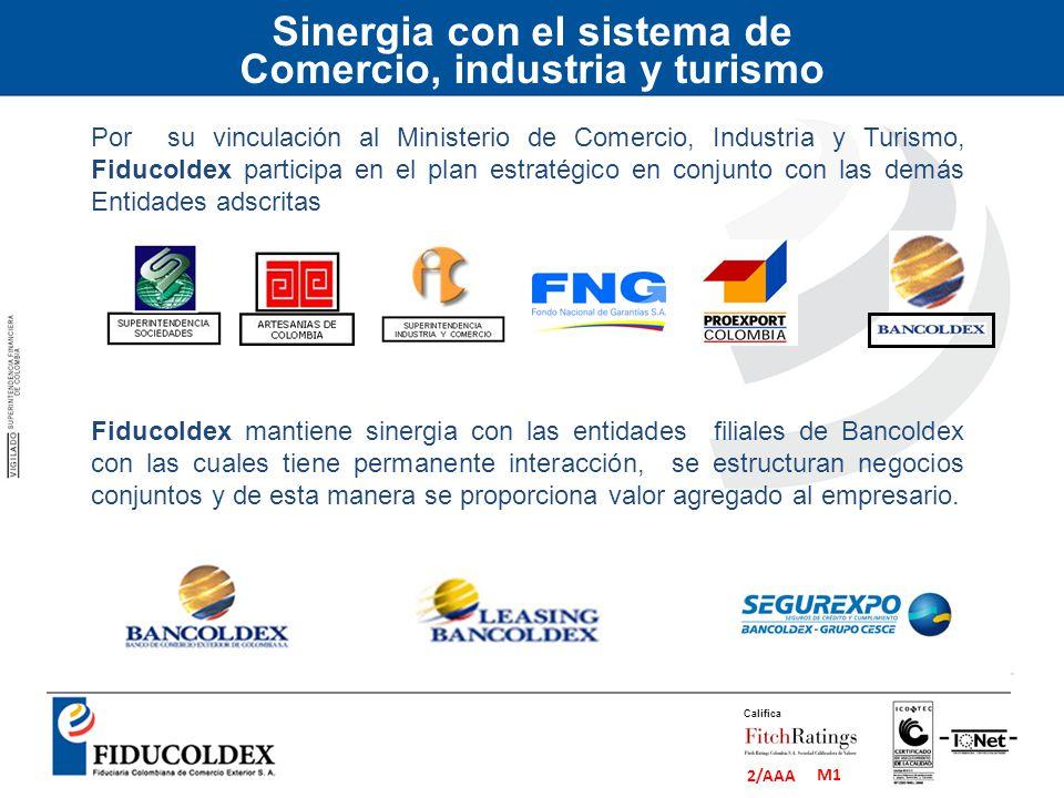 M1 2/AAA Califica Sinergia con el sistema de Comercio, industria y turismo Por su vinculación al Ministerio de Comercio, Industria y Turismo, Fiducold