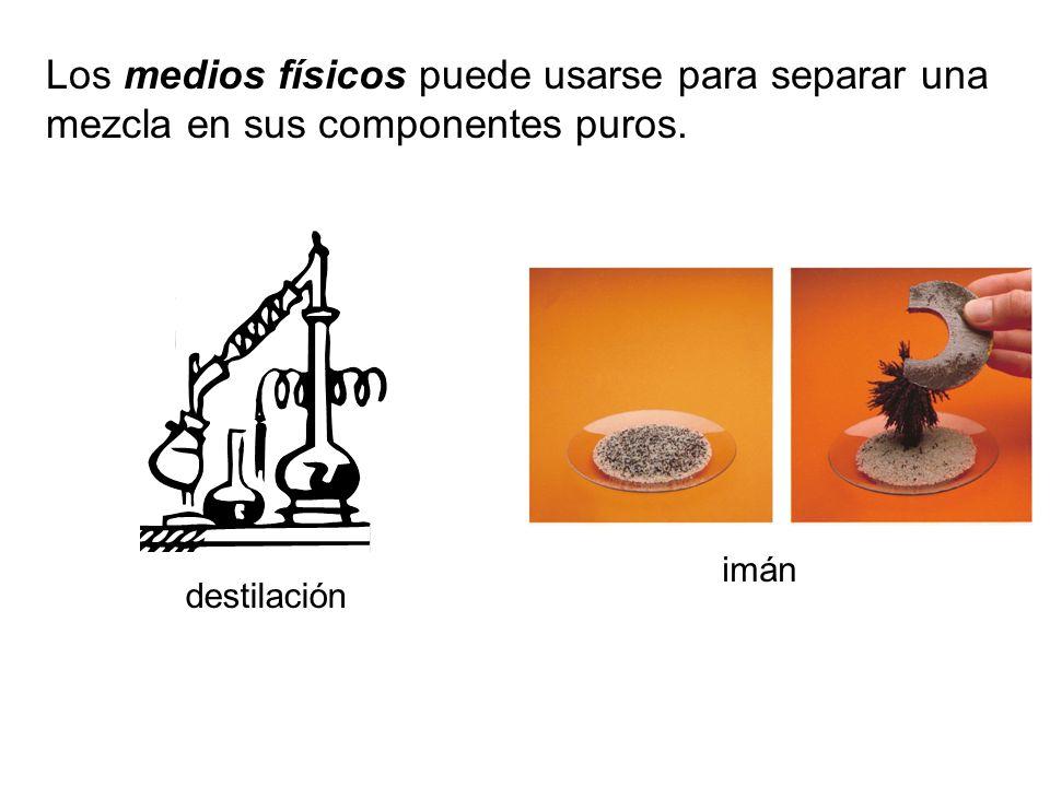 Los medios físicos puede usarse para separar una mezcla en sus componentes puros. imán destilación