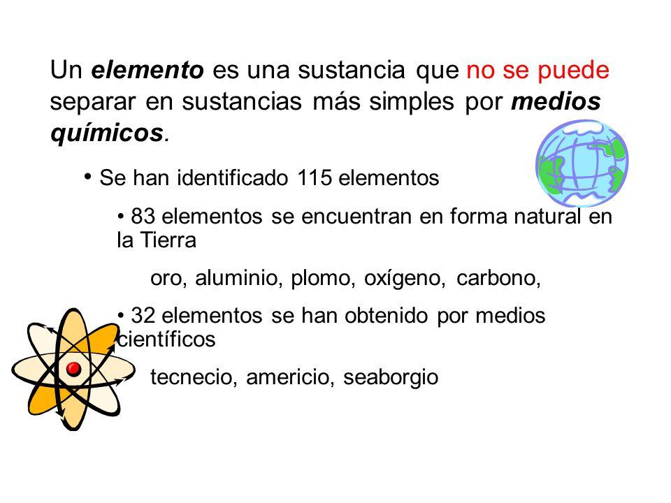 Un elemento es una sustancia que no se puede separar en sustancias más simples por medios químicos.
