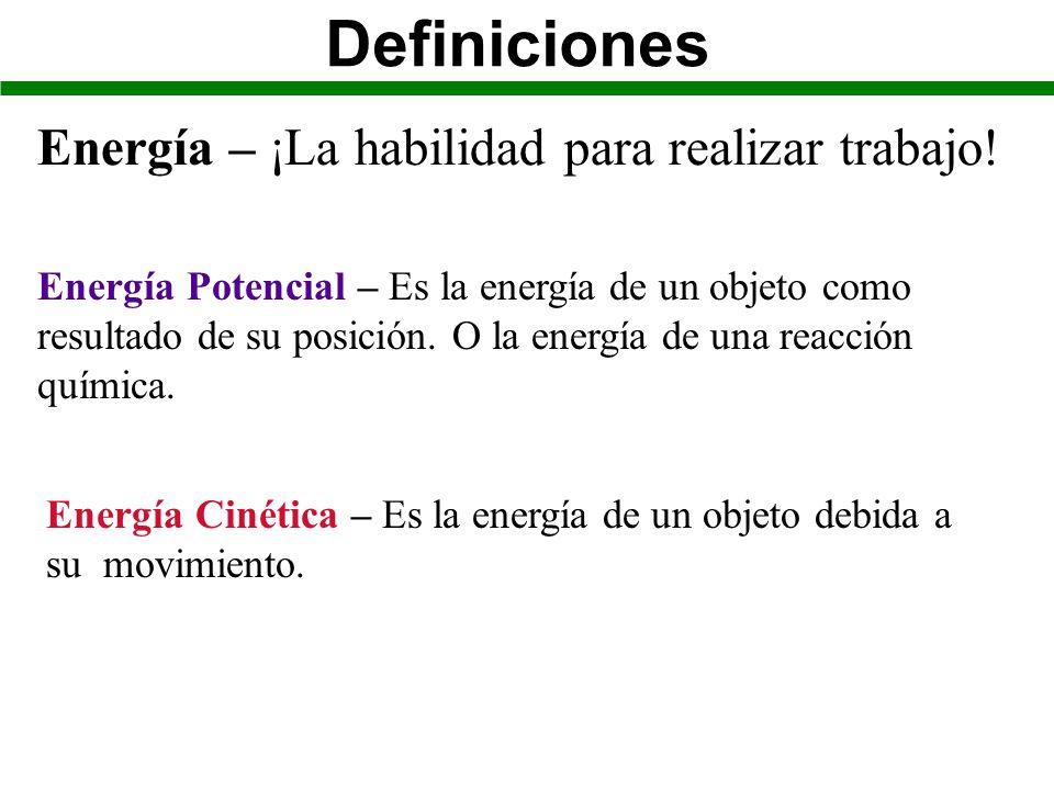 Definiciones Energía – ¡La habilidad para realizar trabajo.