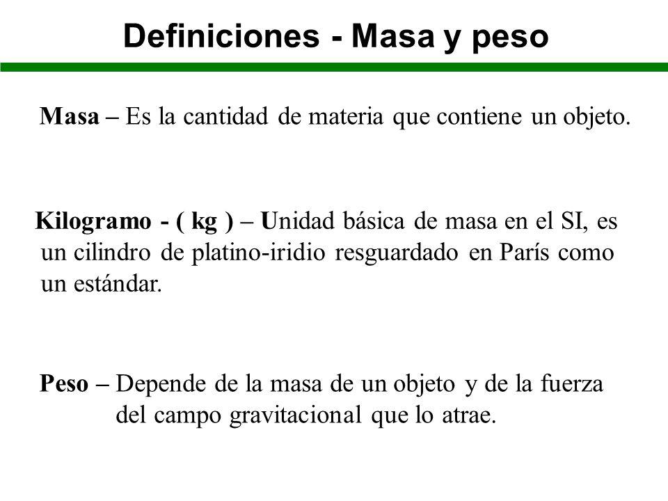 Definiciones - Masa y peso Masa – Es la cantidad de materia que contiene un objeto.