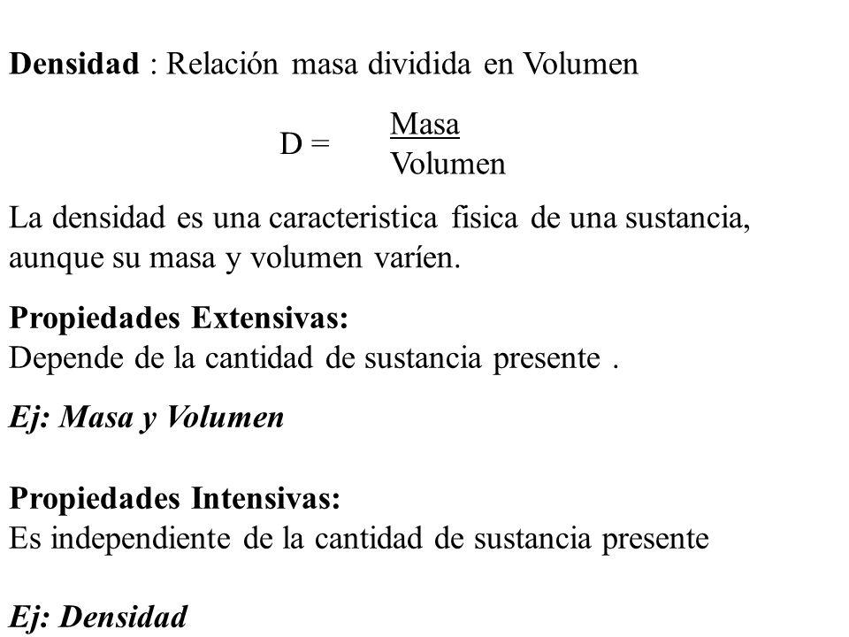 Densidad : Relación masa dividida en Volumen La densidad es una caracteristica fisica de una sustancia, aunque su masa y volumen varíen.