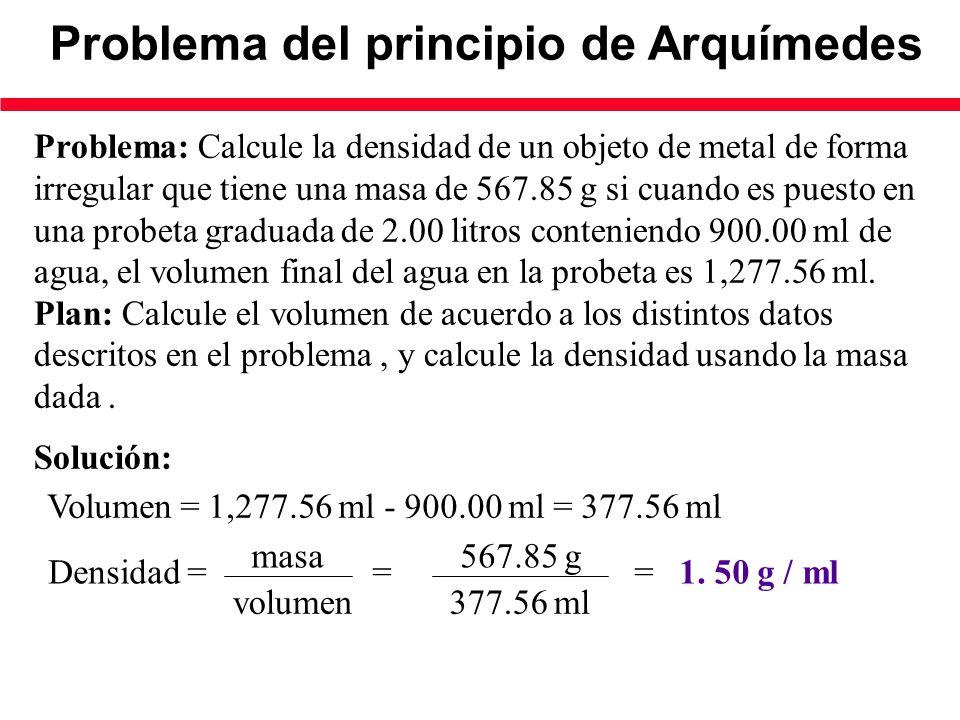 Problema del principio de Arquímedes Problema: Calcule la densidad de un objeto de metal de forma irregular que tiene una masa de 567.85 g si cuando es puesto en una probeta graduada de 2.00 litros conteniendo 900.00 ml de agua, el volumen final del agua en la probeta es 1,277.56 ml.