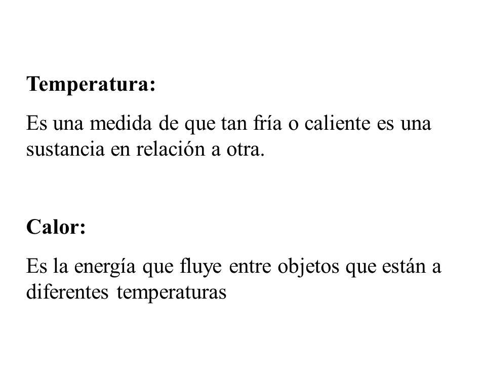 Temperatura: Es una medida de que tan fría o caliente es una sustancia en relación a otra.