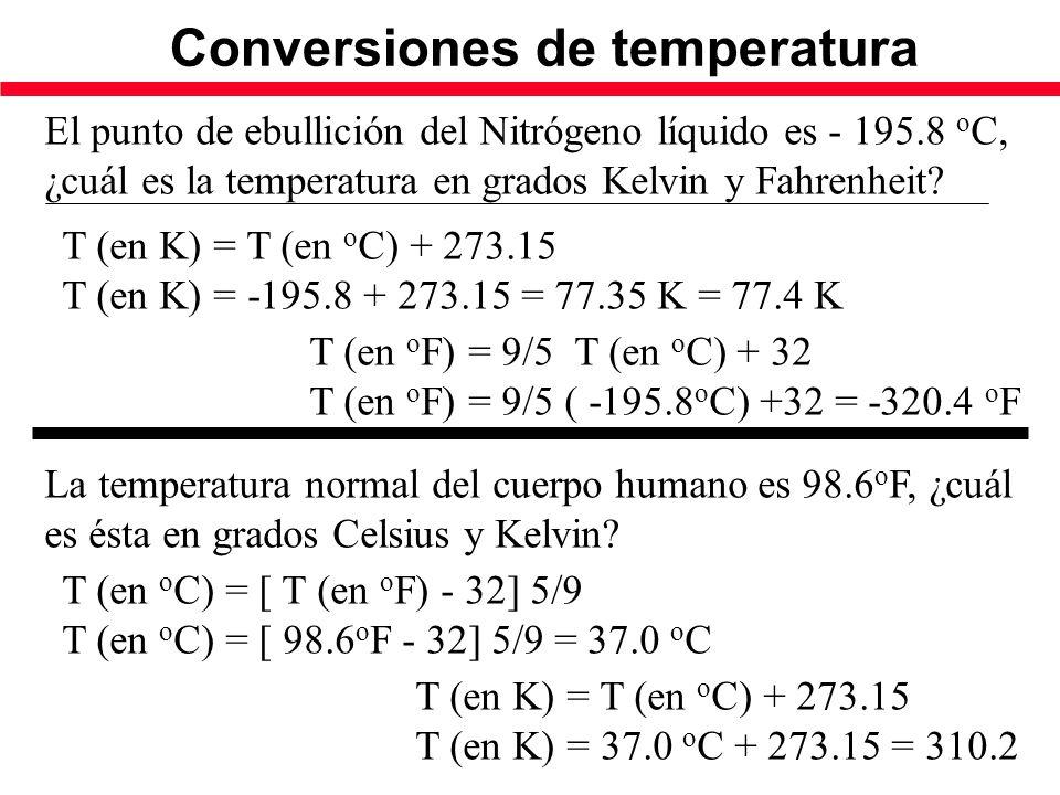 Conversiones de temperatura El punto de ebullición del Nitrógeno líquido es - 195.8 o C, ¿cuál es la temperatura en grados Kelvin y Fahrenheit.
