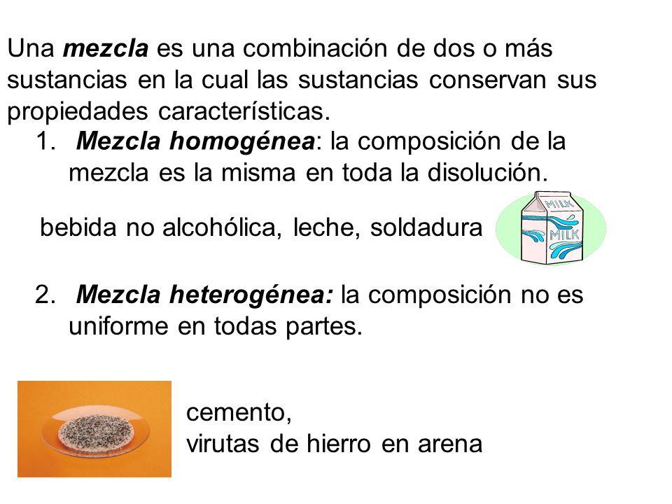 Una mezcla es una combinación de dos o más sustancias en la cual las sustancias conservan sus propiedades características.
