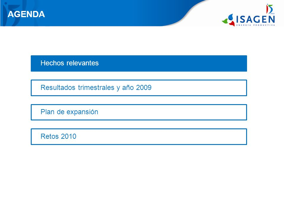 AGENDA Hechos relevantes Resultados trimestrales y año 2009 Plan de expansión Retos 2010