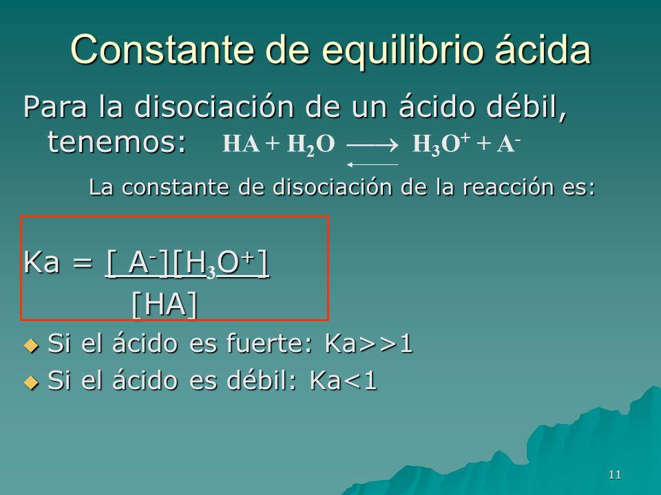 11 Constante de equilibrio ácida Para la disociación de un ácido débil, tenemos: La constante de disociación de la reacción es: Ka = [ A - ][HO + ] Ka