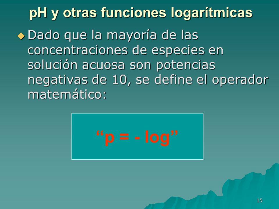 15 pH y otras funciones logarítmicas Dado que la mayoría de las concentraciones de especies en solución acuosa son potencias negativas de 10, se defin