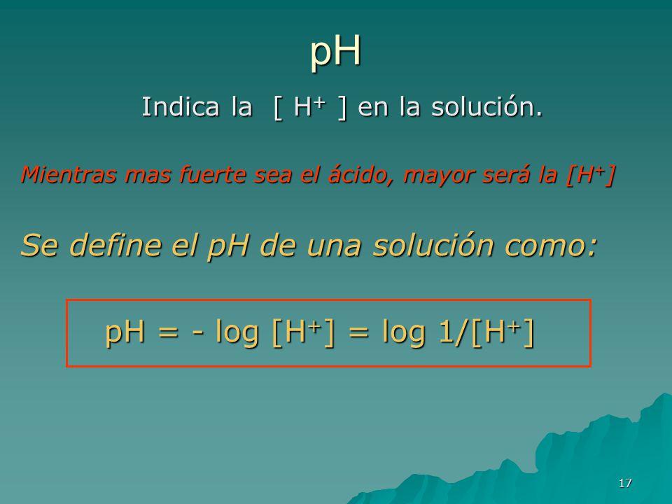 17 pH Indica la [ H + ] en la solución. Mientras mas fuerte sea el ácido, mayor será la [H + ] Se define el pH de una solución como: pH = - log [H + ]
