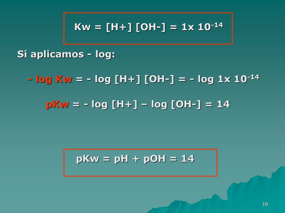 18 Kw = [H+] [OH-] = 1x 10 -14 Si aplicamos - log: - log Kw = - log [H+] [OH-] = - log 1x 10 -14 pKw = - log [H+] – log [OH-] = 14 pKw = - log [H+] –