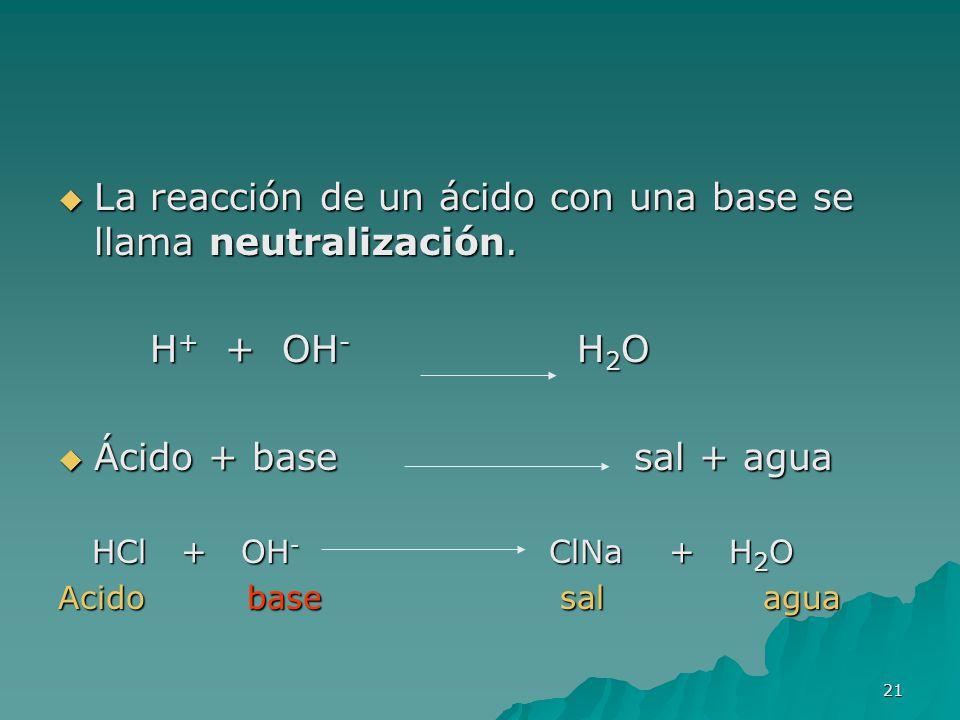 21 La reacción de un ácido con una base se llama neutralización. La reacción de un ácido con una base se llama neutralización. H + + OH - H 2 O H + +
