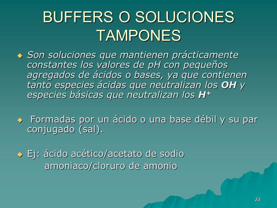 22 BUFFERS O SOLUCIONES TAMPONES Son soluciones que mantienen prácticamente constantes los valores de pH con pequeños agregados de ácidos o bases, ya