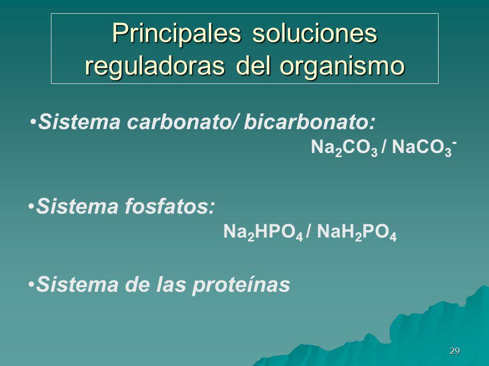 29 Principales soluciones reguladoras del organismo Sistema carbonato/ bicarbonato: Na 2 CO 3 / NaCO 3 - Sistema fosfatos: Na 2 HPO 4 / NaH 2 PO 4 Sis