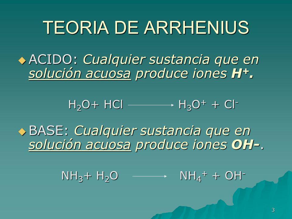 3 TEORIA DE ARRHENIUS ACIDO: Cualquier sustancia que en solución acuosa produce iones H +. ACIDO: Cualquier sustancia que en solución acuosa produce i