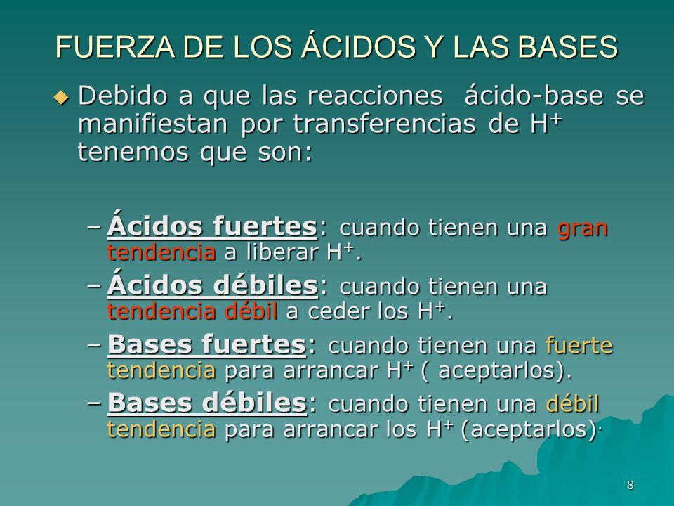 8 FUERZA DE LOS ÁCIDOS Y LAS BASES Debido a que las reacciones ácido-base se manifiestan por transferencias de H + tenemos que son: Debido a que las r