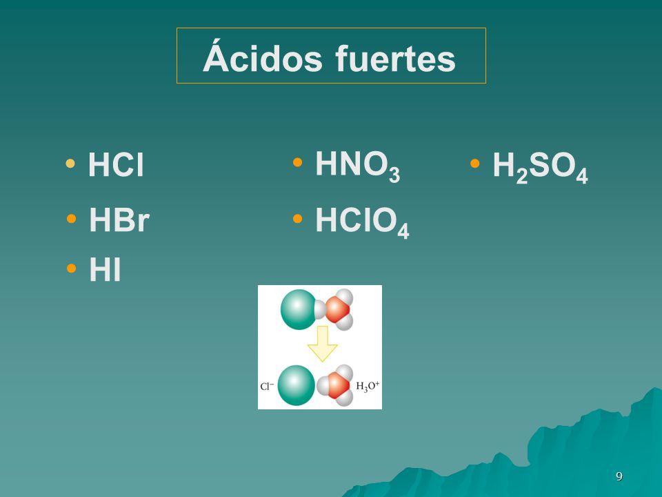 9 HCl HI HBr H 2 SO 4 HClO 4 HNO 3 Ácidos fuertes