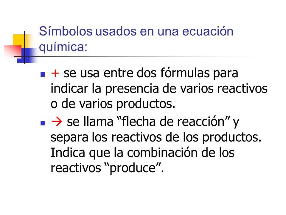 Símbolos usados en una ecuación química: + se usa entre dos fórmulas para indicar la presencia de varios reactivos o de varios productos.