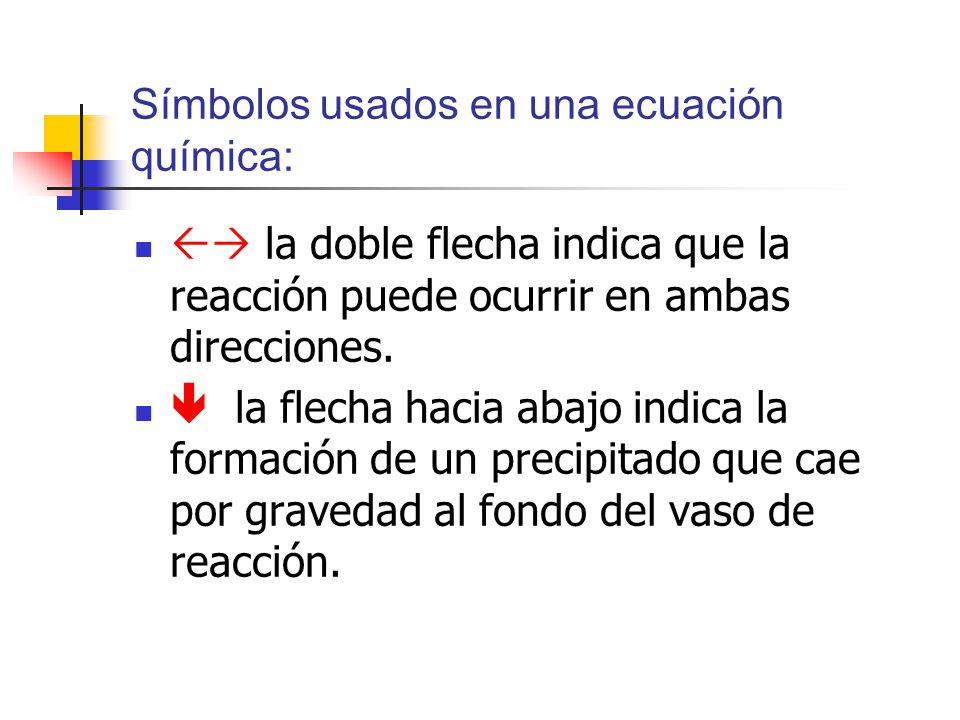 Símbolos usados en una ecuación química: la doble flecha indica que la reacción puede ocurrir en ambas direcciones. la flecha hacia abajo indica la fo