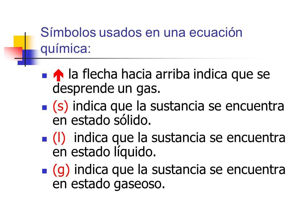 Símbolos usados en una ecuación química: la flecha hacia arriba indica que se desprende un gas. (s) indica que la sustancia se encuentra en estado sól