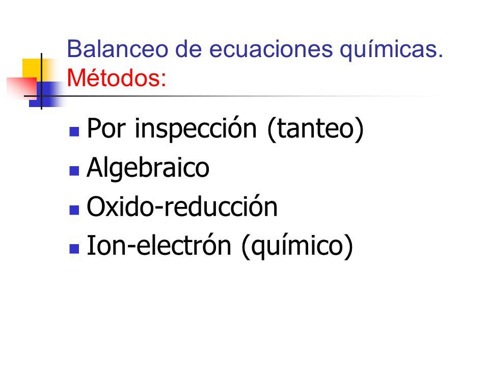 Balanceo de ecuaciones químicas. Métodos: Por inspección (tanteo) Algebraico Oxido-reducción Ion-electrón (químico)