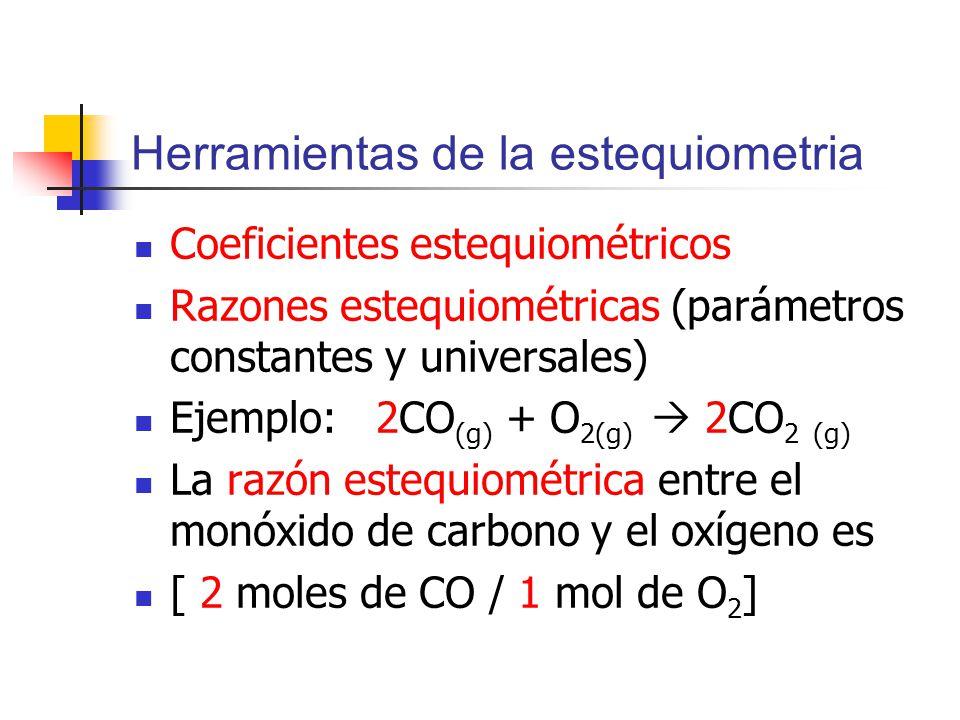 Herramientas de la estequiometria Coeficientes estequiométricos Razones estequiométricas (parámetros constantes y universales) Ejemplo: 2CO (g) + O 2(g) 2CO 2 (g) La razón estequiométrica entre el monóxido de carbono y el oxígeno es [ 2 moles de CO / 1 mol de O 2 ]