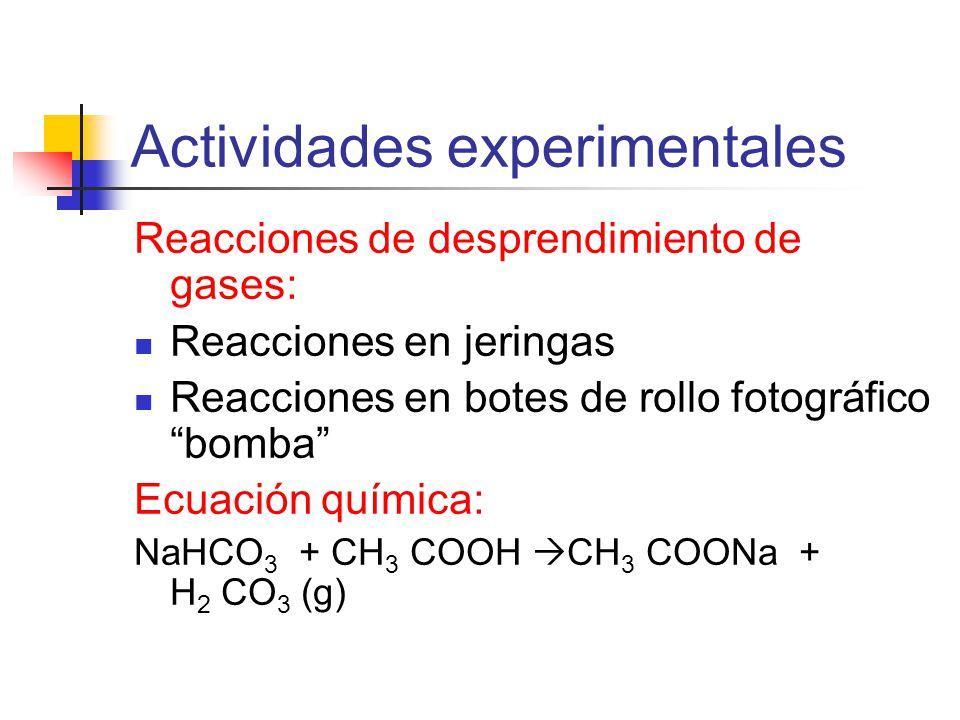 Actividades experimentales Reacciones de desprendimiento de gases: Reacciones en jeringas Reacciones en botes de rollo fotográfico bomba Ecuación química: NaHCO 3 + CH 3 COOH CH 3 COONa + H 2 CO 3 (g)