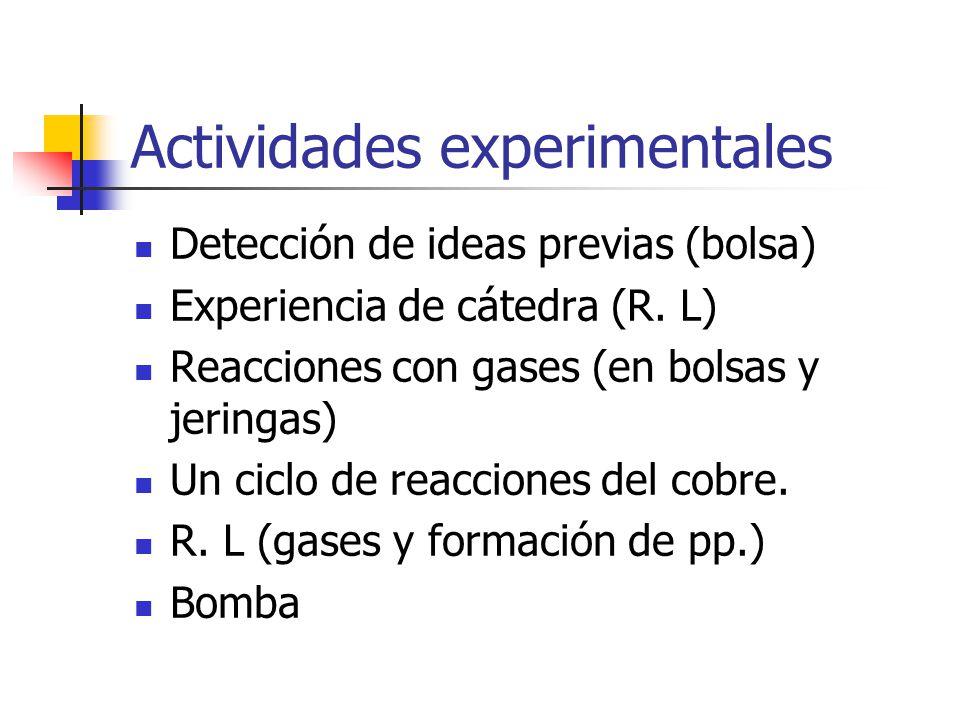 Actividades experimentales Detección de ideas previas (bolsa) Experiencia de cátedra (R. L) Reacciones con gases (en bolsas y jeringas) Un ciclo de re