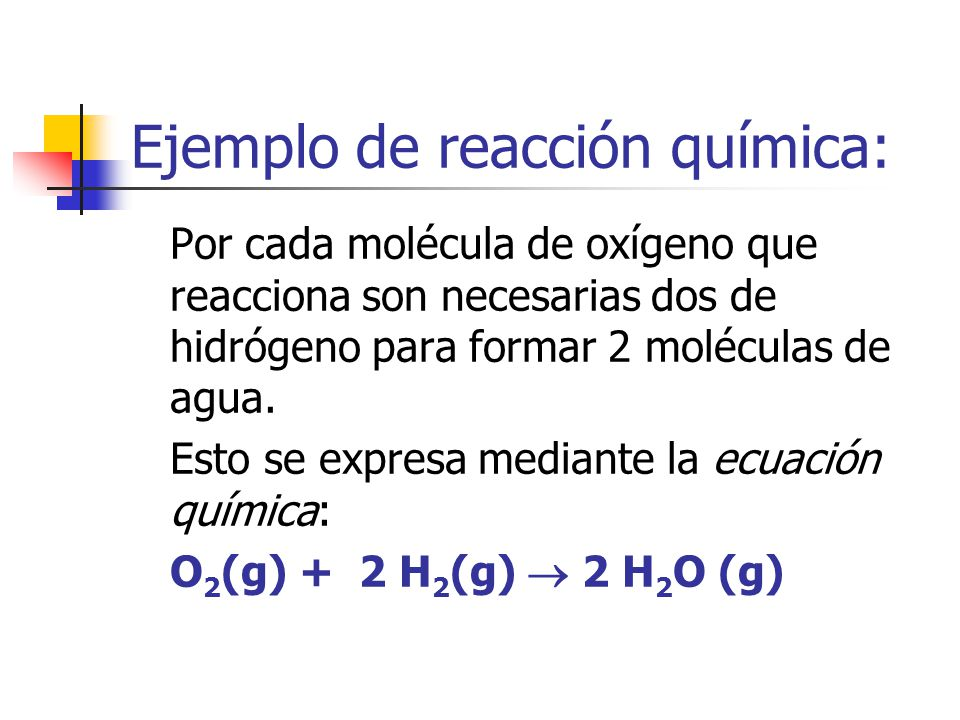 Ejemplo de reacción química: Por cada molécula de oxígeno que reacciona son necesarias dos de hidrógeno para formar 2 moléculas de agua. Esto se expre