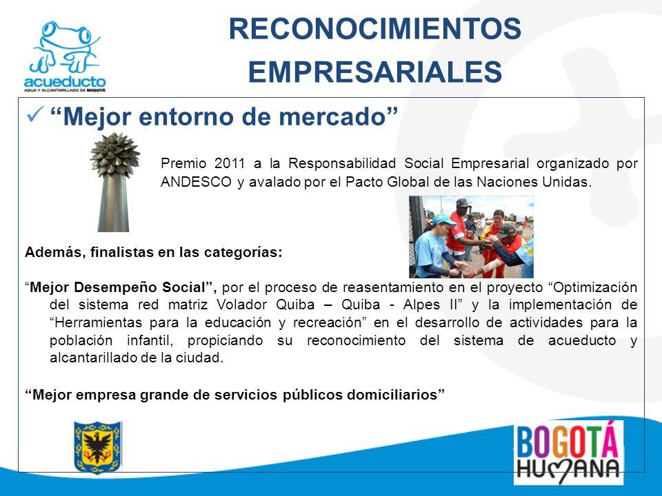 RECONOCIMIENTOS EMPRESARIALES Mejor entorno de mercado Premio 2011 a la Responsabilidad Social Empresarial organizado por ANDESCO y avalado por el Pac