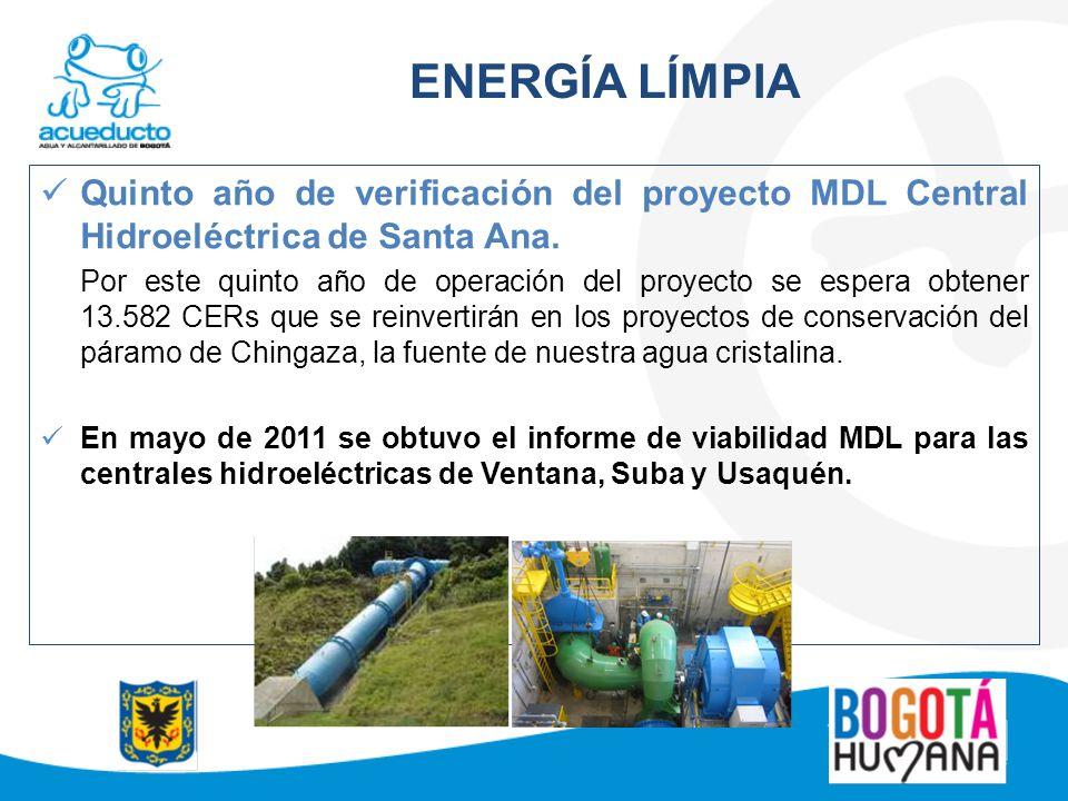 ENERGÍA LÍMPIA Quinto año de verificación del proyecto MDL Central Hidroeléctrica de Santa Ana. Por este quinto año de operación del proyecto se esper