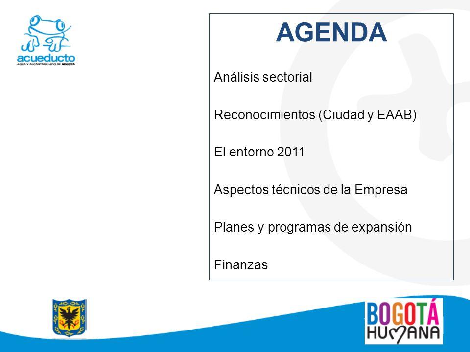 AGENDA Análisis sectorial Reconocimientos (Ciudad y EAAB) El entorno 2011 Aspectos técnicos de la Empresa Planes y programas de expansión Finanzas