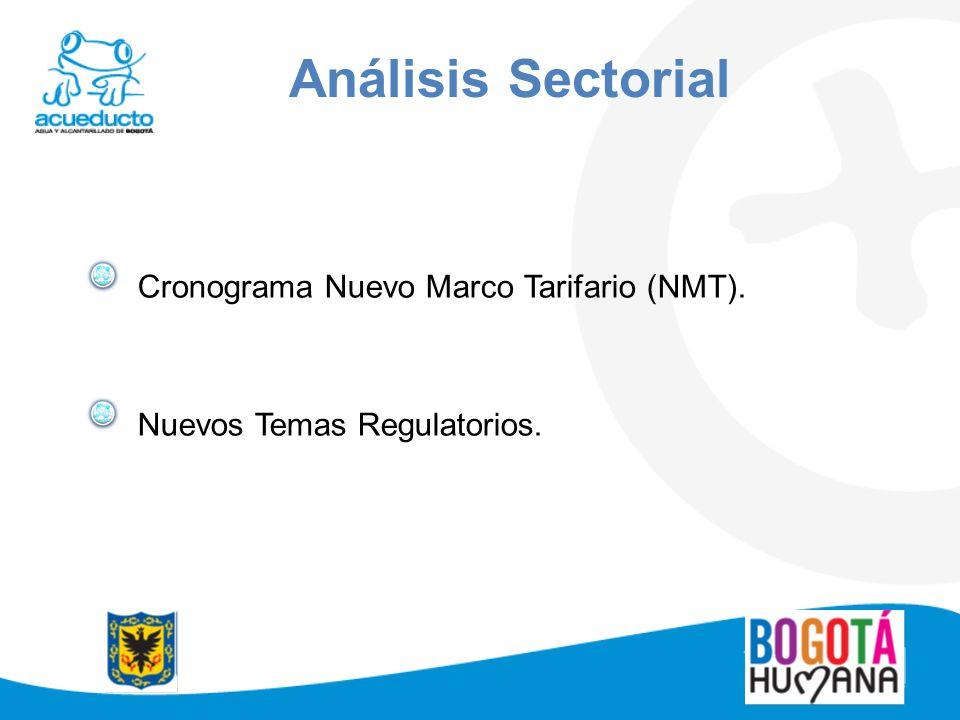 Cronograma Nuevo Marco Tarifario (NMT). Nuevos Temas Regulatorios. Análisis Sectorial