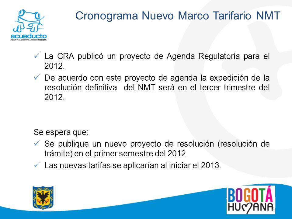 4 Cronograma Nuevo Marco Tarifario NMT La CRA publicó un proyecto de Agenda Regulatoria para el 2012. De acuerdo con este proyecto de agenda la expedi