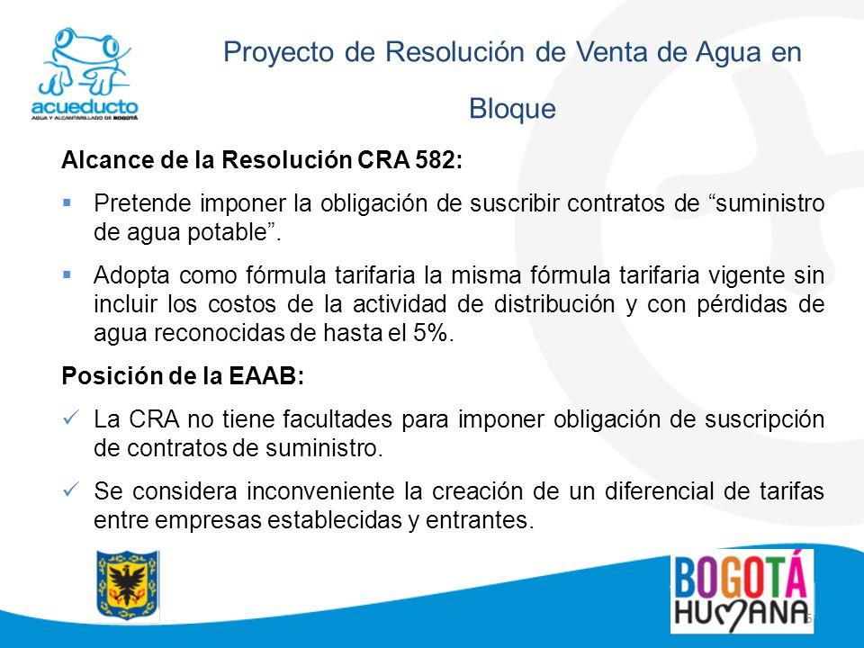 5 Proyecto de Resolución de Venta de Agua en Bloque Alcance de la Resolución CRA 582: Pretende imponer la obligación de suscribir contratos de suminis