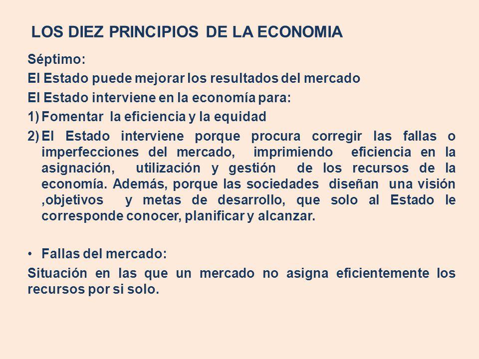 LOS DIEZ PRINCIPIOS DE LA ECONOMIA Séptimo: El Estado puede mejorar los resultados del mercado El Estado interviene en la economía para: 1)Fomentar la