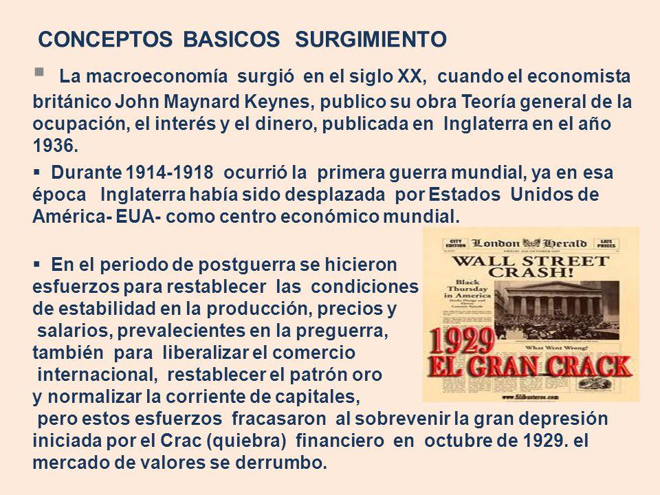 CONCEPTOS BASICOS SURGIMIENTO La macroeconomía surgió en el siglo XX, cuando el economista británico John Maynard Keynes, publico su obra Teoría gener