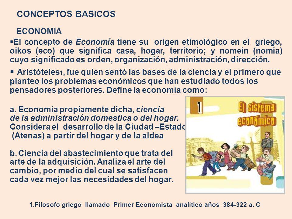 CONCEPTOS BASICOS ECONOMIA El concepto de Economía tiene su origen etimológico en el griego, oikos (eco) que significa casa, hogar, territorio; y nome
