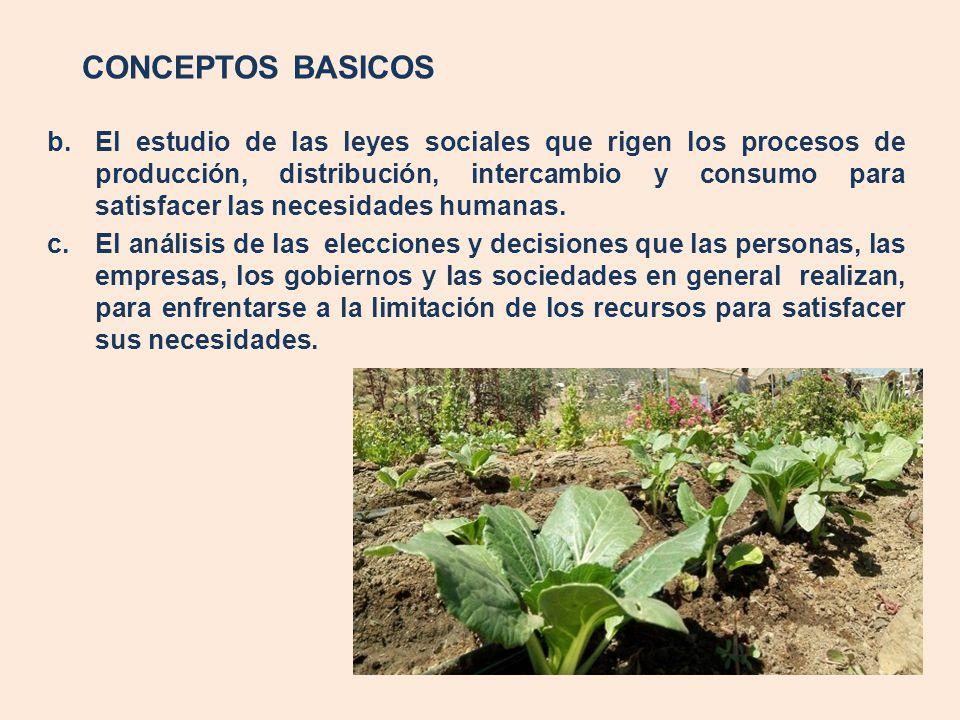 CONCEPTOS BASICOS b.El estudio de las leyes sociales que rigen los procesos de producción, distribución, intercambio y consumo para satisfacer las nec