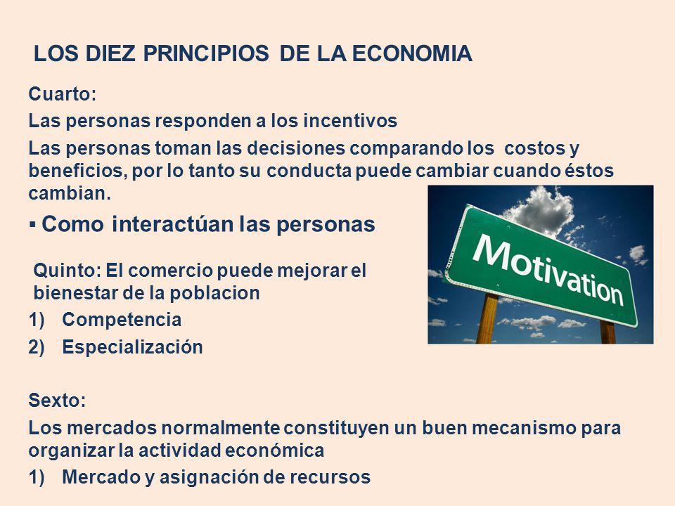 LOS DIEZ PRINCIPIOS DE LA ECONOMIA Cuarto: Las personas responden a los incentivos Las personas toman las decisiones comparando los costos y beneficio