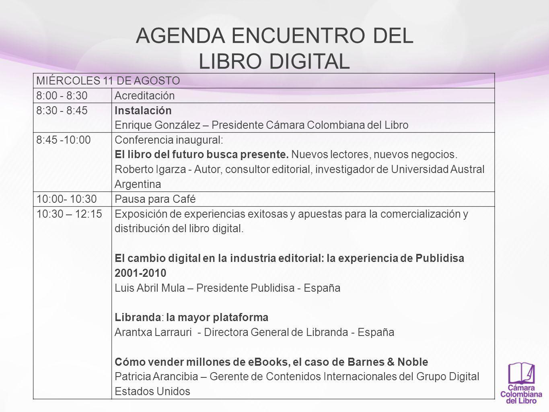 AGENDA ENCUENTRO DEL LIBRO DIGITAL 12:15- 12:45 Aduana y temas fiscales en la praxis del libro digital.