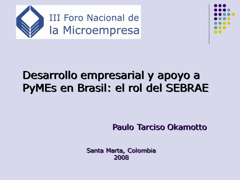 Representatividad de las PyMEs en Brasil 5 millones de empresas formales (99%) y 10 millones de informales 56,1% de la fuerza de trabajo formal urbana 26% de la masa salarial 20% del PIB 13% de la provisión al gobierno 2% de las exportaciones