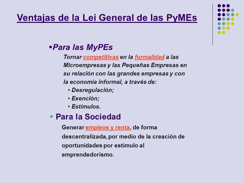 Para las MyPEs Tornar competitivas en la formalidad a las Microempresas y las Pequeñas Empresas en su relación con las grandes empresas y con la econo