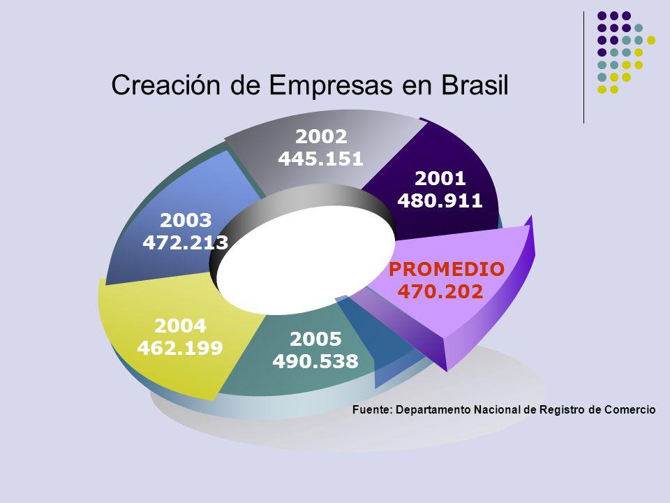 Creación de Empresas en Brasil 2003 472.213 2002 445.151 2001 480.911 PROMEDIO 470.202 2005 490.538 2004 462.199 Fuente: Departamento Nacional de Regi