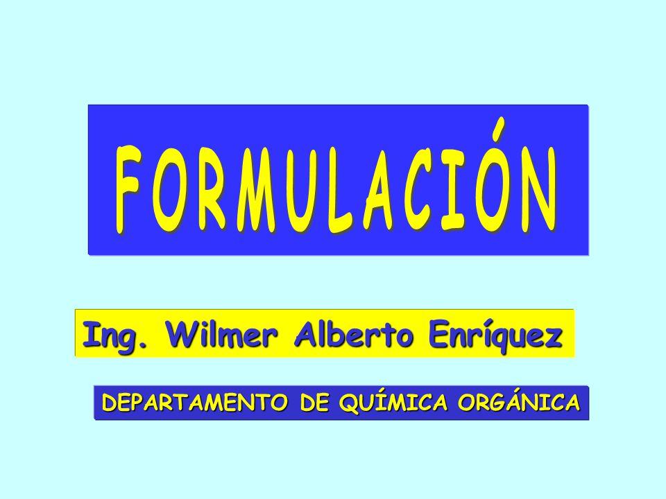 Ing. Wilmer Alberto Enríquez DEPARTAMENTO DE QUÍMICA ORGÁNICA